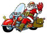 Witzige Illustration Weihnachsmann auf Motorrad