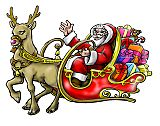 Weihnachtsmann auf seiner Tour im Schlitten